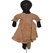 Antique Doll Cloth Doll Rag Doll Black Doll Folk Art Sewn Features W/ Provenance