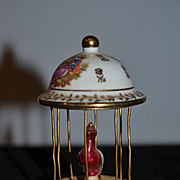 Old French Doll Miniature Porcelain Limoges Bird Cage Dollhouse