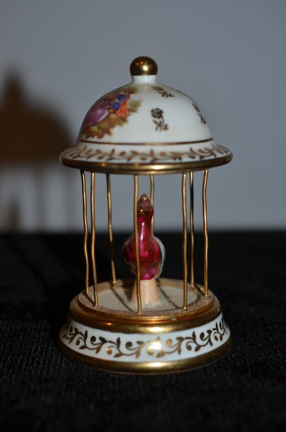 Old French Doll Miniature Porcelain Limoges Bird Cage