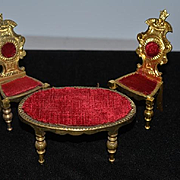 Vintage Doll Set Miniature Dollhouse Table & Chairs Ornate
