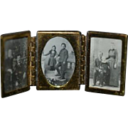 Vintage Dollhouse Miniature Three Connected Frames and Photographs