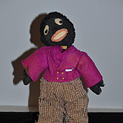 Old Doll Black Cloth Doll Rag Doll Golliwog Stockinette