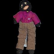 Old Doll Black Cloth Doll Rag Doll Golliwog Stockinette
