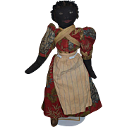 Old Doll Black Doll Cloth Doll Rag Doll Painted Features