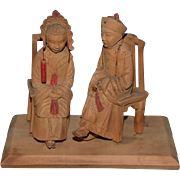 Old Doll Wood Carved Oriental Figure Man & Lady Ornate Detailed In Carved Costume