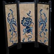 Wonderful Vintage Doll Screen Tapestry Oriental  Wood