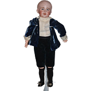 Antique Doll Bisque SFBJ 237 French Character Boy Charming!! W/ Old Clothing Molded Hair