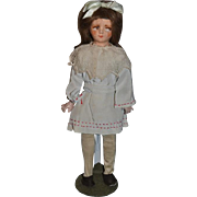 Old Unusual Doll Cloth Doll Papier Mache  Composition