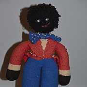 Old Doll Cloth Doll  Golliwog Black Doll Unusual