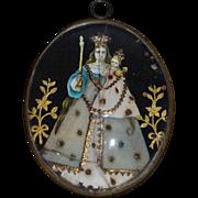 Antique Doll Religious Icon Beveled Mary Jesus Miniature