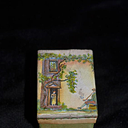 Old Doll Miniature Box Hand Painted Scene Vanity Box French Fashion