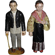 Old Doll Pair Wood Carved Hand Painted 1896 Man & Woman Unusual Folk Art6