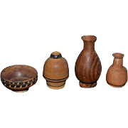 Wonderful Doll Miniature Carved Wood Vase Set Bowls Inlaid Signed Dollhouse