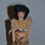 Old Cloth Doll Rag Doll W/ Flag and Paris France Dress Unusual Painted Features