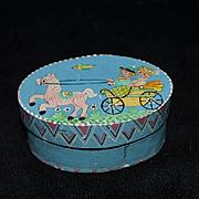 Vintage German Doll Hat Box Hand Painted Scene Miniature Wood