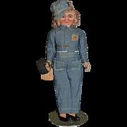 Vintage Doll Cloth Rag Doll Rosie The Reveter War Doll