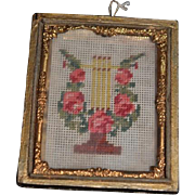 Old Miniature Doll Petit Point Needle Point Framed Picture Dollhouse Ormolu