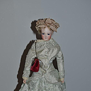 Antique Doll French Fashion Closed Mouth WONDERFUL CLOTHES Hat Purse