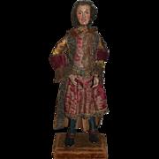 Antique Doll Creche Doll Wood Carved Original Costume Wonderful