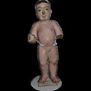 Old Doll Carved Wood Enamel Eyes Wood Santos Creche Figure