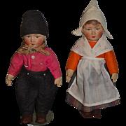 Old Doll Cloth Doll Bing Doll Set Girl and Boy Dolls Two Dolls ! Original Clothing