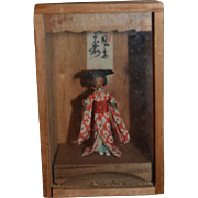 Old Doll Miniature Oriental Doll In Glass & Wood Box Dollhouse Original Clothing