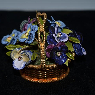 Wonderful Gorham Jane Hutcheson Fleur Des Siecles Enamel Basket of Flowers