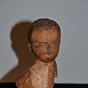 Antique Doll Carved Wood Head Bust W/ Award Winning 1963 UFDC Ribbon