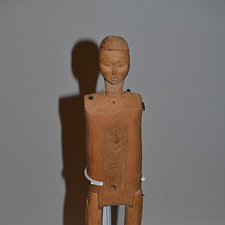 Old Doll Unusual Wood Carved Jointed Oriental