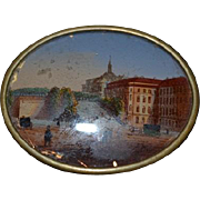 Old Miniature Painting in Oval Glass Brass Frame For Dollhouse