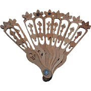 Old Doll Miniature Wood Fan Ornate Fashion Doll Carved