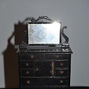 Early Doll Miniature Dresser Chest W/ Swing Mirror Fancy Dollhouse