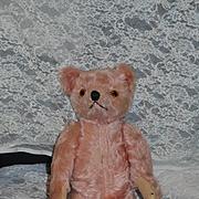 Old Teddy Bear Mohair Jointed PINK Teddy Bear Glass Eyes Rare