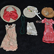 Old Miniature Doll Clothes Hats Purse Dollhouse Straw Hat
