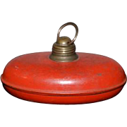 Antique Doll Miniature Bed Warmer Metal Old Red Paint