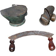 Old Doll Miniature Dollhouse Lot Coal Bucket Old Cheese Cutter