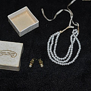 Vintage Doll Miniature Triple Strand Faux Pearl Set W/ Earrings in James Walker Jewelers Box