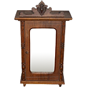 Old Doll Wood Miniature Mirror Front Ornate Wardrobe