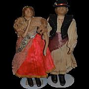 Old Doll Pair Man & Lady Unusual Original Clothing Cloth Doll Dolls