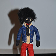 Wonderful Old Golliwog Black Cloth Doll Unusual Rag Doll