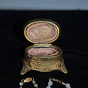 Old Miniature Doll Fancy Casket Hinged Box W/ Two Doll Necklaces French Fashion