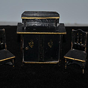 Antique Doll Miniature Wood Cabinet Dollhouse Two Chairs Hand Painted Golf