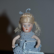 Antique Doll All Bisque Miniature Dollhouse Double Strap Shoes