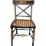 Wonderful Windsor Chair Hand Painted Scene Cane Bottom For French Fashion Or China Head