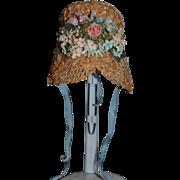 Vintage Doll Hat Straw Hat W/ Flowers Fancy By Alice Von Benkin Allegro