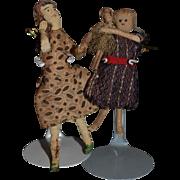Old Doll Miniature Cloth Dolls Dollhouse Two Dolls w/ A Baby