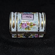 Old Miniature Porcelain Enamel Hinged Trinket Box Trunk Doll French