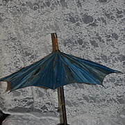 Wonderful Old Carved Wood Parasol For French Fashion Doll Umbrella Ornate