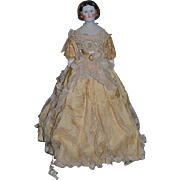 Antique Doll China Head Gold Painted Snood Fancy Kestner Mary Todd Lincoln