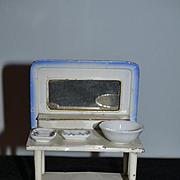 Old Doll Miniature Enamel Tin Vanity W/ Dresser Set Soap Bowl Dollhouse